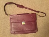 Burgundy Faux Leather Business Bag