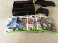 Xbox 360 console with Kinect, controller and Selection of Sport Games