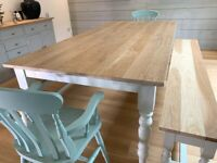 Kitchen Dining Table Farmhouse Set with Benches and Chairs Free Delivery Modern Oak Smooth