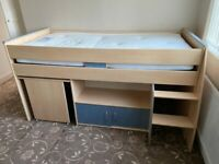 Single Bed Mid Sleeper with Desk and Storage
