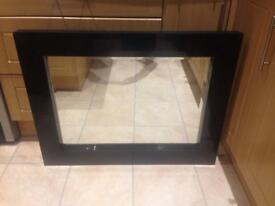 Black bevelled edge glass mirror