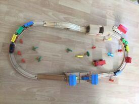 Wooden train set comes with bridges etc
