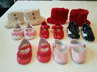 7 x pairs girls shoes 0 - 3 months