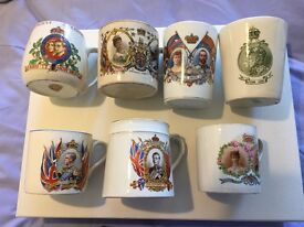 Collection of royal commemorative and coronation mugs and other items