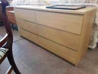 Modern six drawer chest of drawers
