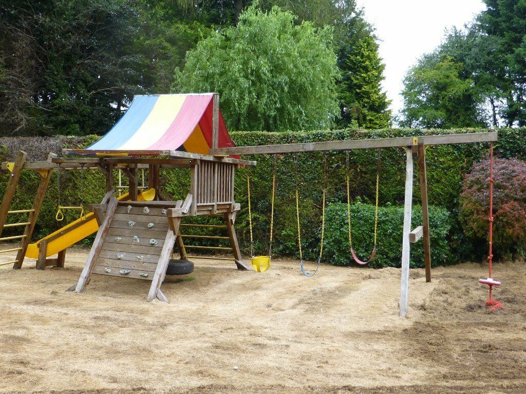 Rainbow Climbing Play Frame - Slides Swings - Climbing Rail Ropes ...