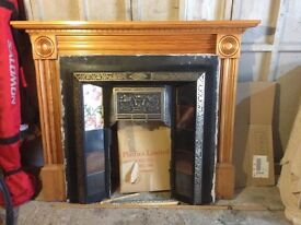 Fire surround and wooden mantelpiece