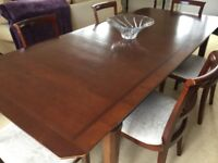 M&S cherry wood extending dining table & 6 chairs