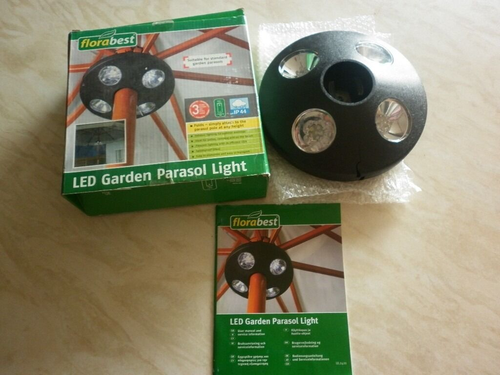 LED Garden Parasol Lightin Weston super Mare, SomersetGumtree - LED Garden Parasol Light. Outdoor lighting for summer evenings. Ideal for patios, camping and on the beach. Easy to dismantle and easy to transport