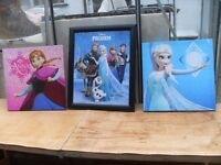 3 PICS FROM THE DISNEY FILM FROZEN ONE IS IN GLASS FRAME CAN DELIVER