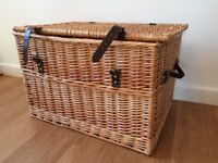 EXTRA Large trunk wicker hamper basket with lid idea for logs or toys
