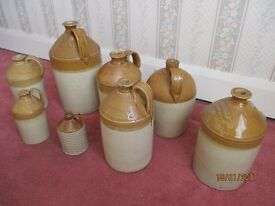 Vintage earthenware wine/beer flagons