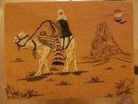 Hand made sand and glue painting from Algeria