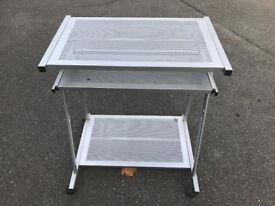 Metal computer/printer table with keyboard shelf