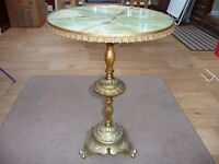 BARGAIN VINTAGE ANTIQUE RETRO SMALL FRENCH STYLE GILT GOLD ROUND TABLE GREEN MARBLE LOOK