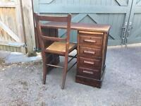 Child's antique desk and chair