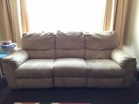 Beige Suede Sofa with Recliners