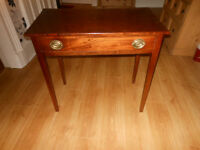 SMALL RESEWOOD TABLE WITH DRAWER.
