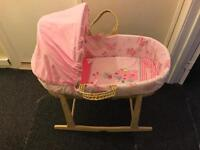 Clair De lune Lottie & Squeak Moses basket & Clair De lune rocking Moses basket stand (pine)