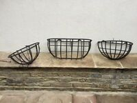 Wrought Iron Wall Basket Planters
