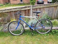 Mens blue/silver mountain bike feel free to contact me