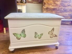 Beautiful Butterfly Storage Box On Wheels - Toy Box - Blanket Box - Many Uses -