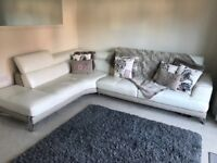 DFS White large leather corner sofa for sale, excellent condition