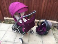 Stokke Scoot puschair and car seat purple plus extras