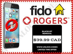 UNLOCK.CODES  --  Rogers / Fido iPhone Unlocking  --  19.99 CAD PROMO