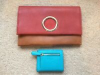 Brand New - Two Tone Clutch Bag With Built In Shoulder Strap + Aqua Purse / Wallet - Real Leather