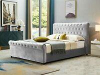 🌠Sale End Soon🌠KING SIZE FULLY PLUSH VELVET SLEIGH OTTOMAN STORAGE BED FRAME w OPT MATTRESS