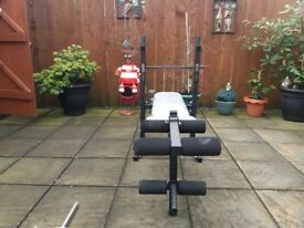 York Fitness Bench with Weights and Dumbell Bars