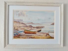 AYLMER ARMSTRONG ORIGINAL SIGNED WATERCOLOUR DUNSEVERICK HARBOUR - BRAND NEW FRAME
