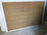Brown, rattan bed headboard