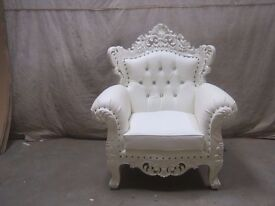 NEW Venice 3 PIECE SET Chaise Longue French - White - Luxury Asian Wedding Gothic Antique carved