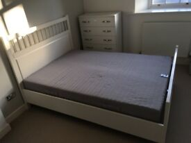 Ikea Double Bed including mattress with zipped cover Malmo design in perfect condition