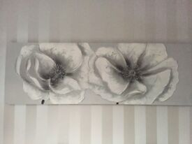Hand painted silver poppies canvas - as new