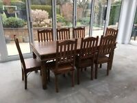 Sheesham Solid Wood Dining Table + 8 Matching Chairs