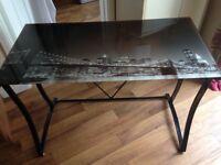 New York photo glass top to a black metal frame desk