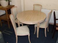 Limed oak extending dining table and 4 chairs