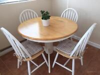 Solid Wood Table, 4 Chairs and Cushions