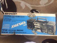 Brand New Sharp Integrated CD/Double Cassette HI-FI System - CD77E (BK) Black
