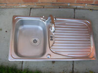 leisure s/steel reversable sink & tap