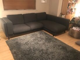 IKEA Nockeby 3 seater sofa with chaise - excellent condition- as new -