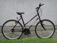 Giant Hollywood ladies bike, 26 inch wheels, 20 inch frame, 18 gears, purple can possibly deliver