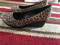 Brand new ladies leopard print wedges