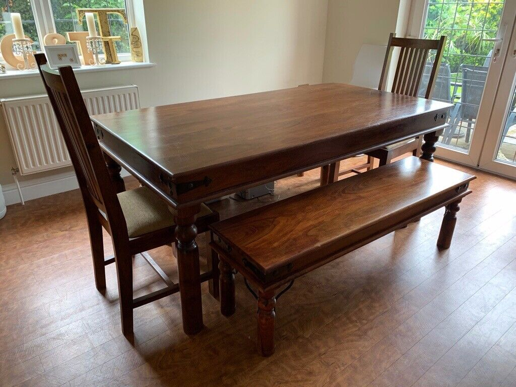 Large Dining Table. 2 chairs and two refectory benches ...