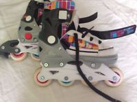 Kid's inline skates - Velocity adjustable size UK 1 to 3 / EU 33 to 36