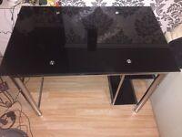 Glass desk + chair