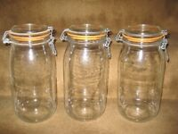 Three 2 Litre Le Parfait Glass Preserve Jars